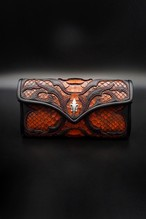 Item No.0350:Tear butt medium flap Wallet/Diamond python tangerine/RE-5