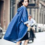 Big Size Harajuku spring Denim Trench Coat Open Stitch Loose Long-sleeved Denim Cardigan 447