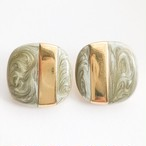 """Monet"" green marble earring[e-1047]"