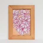 Wood print Art 【Plumeria ナチュラルフレーム付き】