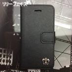 百合の紋章 iPhone PUレザーケース スタンド機能 カード収納 アンティークシルバー  フェイス