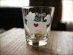 チワワ/ロングコート彫刻グラス(ハート&クローバー)