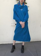 80s blue dolman sleeve knit dres( ヴィンテージ ブルー ドルマンスリーブ ニット ワンピース )