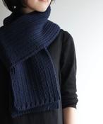 手編みで編んだリブマフラー WOA-045