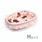 ふーじこちゃんママ手作り ぽんぽんベッド(サテンライトピンク・ボア・靴下ねこ柄)Mサイズ 【PB2-118M】
