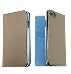 【グレージュ×サックスブルー】手帳型 iPhone6s/6/7/8/X/XS/XSMAX/plus/11/11pro/11proMAX