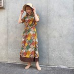 (LOOK) flower patchwork print one-piece