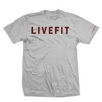 LIVE FIT Bold Tee- Heather Grey/ Burgundy