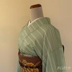 正絹紬 ミントグリーンの小紋 袷の着物