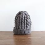 【オーダー製品】No.12の糸を使ったケーブル編みニット帽子
