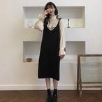 ストラップワンピース シンプル カジュアル スカート【0366】
