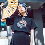チャイナ風トップス シャツ 改良唐装 女子会 中華服 M L LL ブラック コットン 半袖 個性的