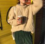 冬 新作 定番 ケーブル編み ラウンドネック ゆったり ニット セーター