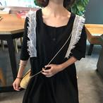 【新作10%off】vell sleeve lace stich dress 2382