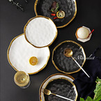 【S×2枚セット】大人気!! 海外デザイン 高級セラミックゴールドエッジプレート お皿 食器セット 磁器 ディナー パティー 誕生日 おうちディナー