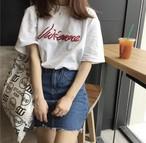ハーフスリーブ♡ ロゴ 刺繍 Tシャツ シンプル 着回し カジュアル