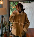 リバーシブル 2way ボア×ムートン調 ジャケット コート ボタン リボン ゆったり リラックス 秋冬 アウター ナチュラル ガーリー