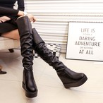 【shoes】シンプルファスナー暖かいロングブーツ
