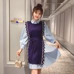 【set】人気爆発中ファッション配色シャツワンピース+ニットワンピースセットアップ23038727