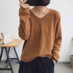 【トップス】ファッションVネック無地セーター・カットソー23898894