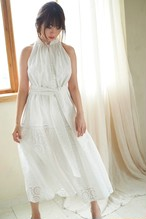 Lace-trimmed Belted Dress