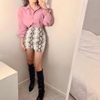 パイソンアンバランスミニスカート パイソン スカート 韓国ファッション