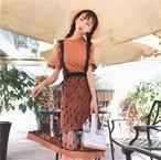 【新作10%off】fril tops + girly lace dress 2736