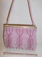 薄紫色ビーズビィンテージバック ligtht purple bead vintage bag (made in Japan)(No38)
