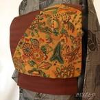 正絹紬 代赭(たいしゃ)に相良刺繍の袋帯