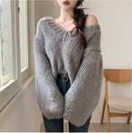 【tops】vネックシンプル雰囲気漂うセーター25754996