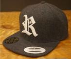 RAKUGAKI Melton Wool R Logo SnapBack Cap Dark Grey x White
