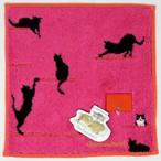 猫タオルハンカチ(GUGUWorldキャットドア)ピンク