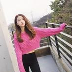 【tops】ニットセーターシュート丈ドルマンスリーブ全3色