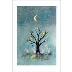 『星の実』  三日月がきれいな夜は木に星の実がなる 楽しげなうさぎがかわいいイラスト  ポストカード