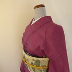 正絹紬 濃紅の紬 単衣の着物