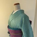 正絹綸子 水浅葱色の総絞りの小紋 袷の着物