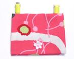 外付け移動ポケット-和花柄・ピンク花ボタン