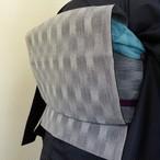 正絹紬 グレーの単衣の帯