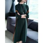 【dress】ニットワンピースハイネック配色ゆったりワンピース
