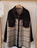 異素材チェックポケットシャツ シャツ ブラウス  韓国ファッション