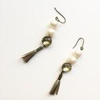 パールとタッセルのドロップピアス -Pearl and Tassel Drop Earrings-