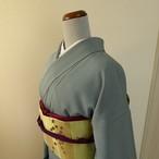 正絹 ブルーグレーの色無地 紋入り 袷の着物