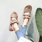 【shoes】ファッション切り替えチエック柄サンダル18938949