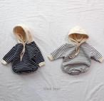 【即納】black bean 韓国買い付けアイテム 裏起毛ボーダーロンパース 韓国子供服ロンパース 出産祝い ベビーロンパース ベビー服