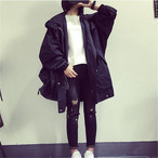 Women Trench Coat Solid Color Casual Hooded Long Coat Korean Style 468