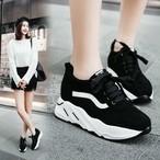 厚底スニーカー 韓国 原宿 カジュアル 通勤 通学 学生 黒 紐 大きいサイズ 小さいサイズ 秋冬  Chami5320187 レディース 靴