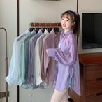 【送料無料】 トレンドの透け感コーデ♡ 大人可愛い カジュアル サイドスリット入り イースルー シアー シャツ 羽織り