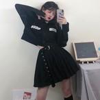 【set】[単品注文]ストリート系POLOネックシャツ+スカートセットアップ20696980