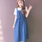 【dress】ガーリー系チェック柄すね丈ノースリーブカジュアルワンピ18457961