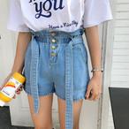 【新作10%off☆】waist bow denim short pants 2925